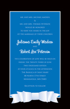 Modern Blue Double White Bow Black Border Invitations