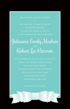Modern Teal Double Bow Printed Invitations