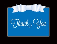 Blue Double Bow Thank You Cards