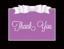 Purple Double Bow Thank You Cards