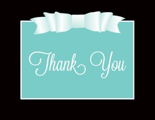 Teal Double Bow Thank You Cards