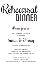 Modern White Rehearsal Dinner Simple Script Invites