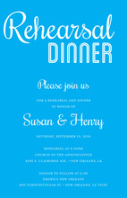 Modern Blue Rehearsal Dinner Simple Script Invitations