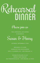 Modern Green Rehearsal Dinner Simple Script Invites