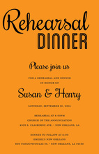 Modern Orange Rehearsal Dinner Simple Script Invites