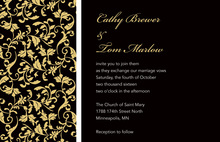 Formal Gold Leaf Flourish Wedding Invitations