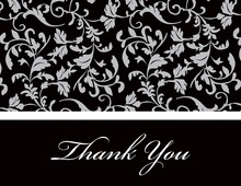 Grey Leaf Flourish Thank You Cards