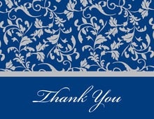 Blue Leafy Flourish Thank You Cards