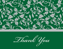 Green Leafy Flourish Thank You Cards