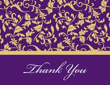 Purple Leafy Flourish Thank You Cards
