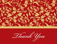 Red Leafy Flourish Thank You Cards