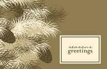 Modern Brown Pine Folded Greeting Cards