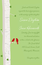 Romantic Birch Tree Sage Wedding Invitations