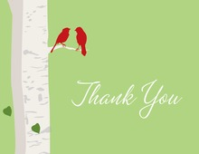 Romantic Wedding Birds Sage Thank You Cards