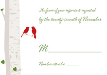 Romantic Wedding Birds Sage RSVP Cards
