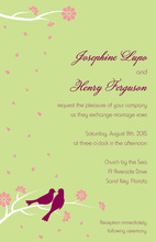 Loving Wedding Birds Sage In Spring Invitations
