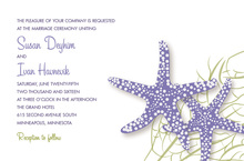 Purple Starfish Beach Wedding Invitations