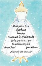 Wedding Dress Blueish Background Invitation