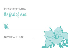 Turquoise Hibiscus Flower RSVP Cards