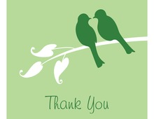 Green Lovely Birds Thank You Cards