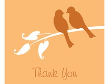 Orange Lovely Birds Thank You Cards