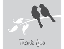 Grey Lovely Birds Thank You Cards