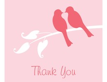 Pink Lovely Birds Thank You Cards