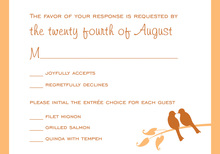 Orange Lovely Birds RSVP Cards