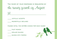 Green Lovely Birds RSVP Cards