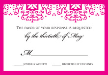 Hot Pink Wrought Pattern RSVP Cards