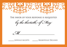 Orange Wrought Pattern RSVP Cards