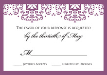 Purple Wrought Pattern RSVP Cards