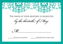 Teal Wrought Pattern RSVP Cards