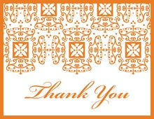 Orange Wrought Pattern Thank You Cards