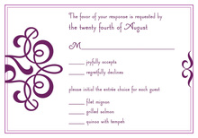 Classic Flourish Purple RSVP Cards