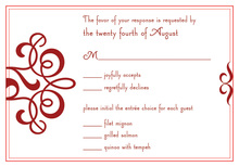 Classic Flourish Red RSVP Cards