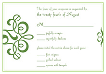 Classic Flourish Green RSVP Cards
