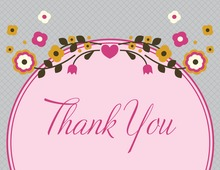 Unique Pink Floral Thank You Cards