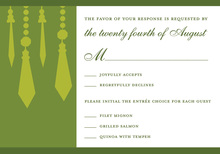 Retro Chandelier Green RSVP Cards