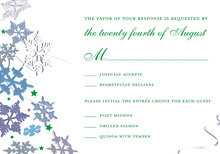 Green Winter Snowflakes RSVP Cards