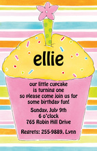 Pink Cupcake Stripes Invitation