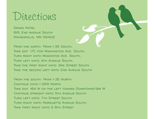 Green Lovely Wedding Birds Enclosure Cards