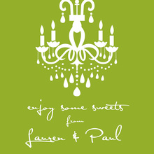 White Chandelier Silhouette Green Stickers