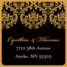 Gold Damask Modern Black Stickers