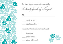 Heart In Bloom Teal RSVP Cards