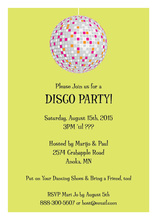 Large Disco Ball Lime Party Invitations