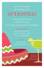 Stylish Margarita Fiesta Whiter Border Invitations