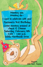 Monkey Holding Gift Invitation