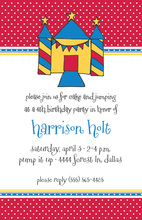 Blue Bounce Castle Invitations