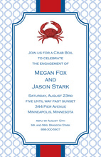 Crab Illustration Blue Links Red Banded Invitations